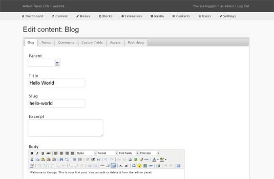 اسکریپت مدیریت محتوای Croogo