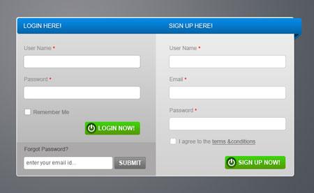 فرم ورود و ثبت نام آماده PSD